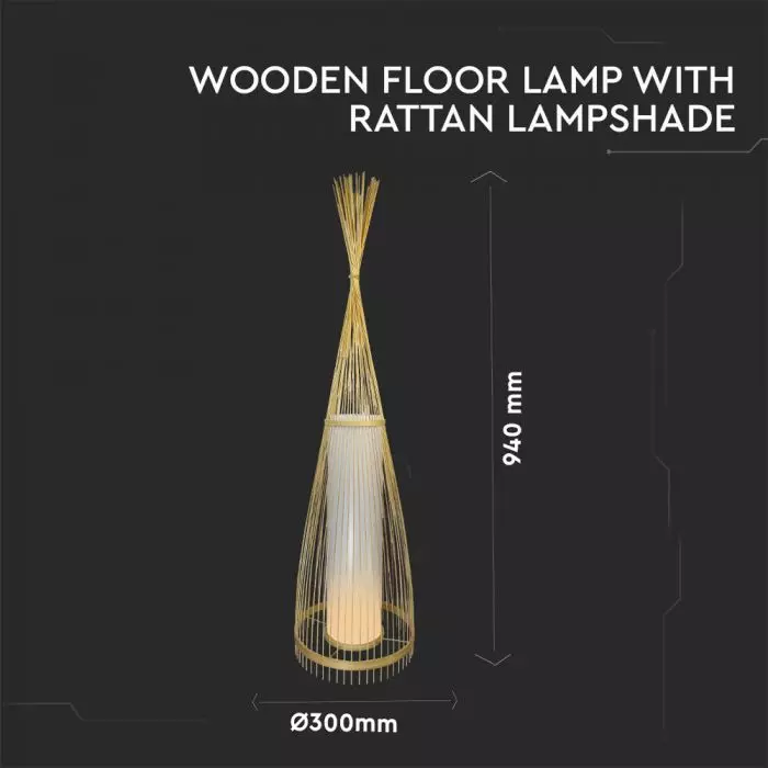 VT-3100 WOODEN FLOOR LAMP WITH RATTAN LAMPSHADE E27 HOLDER D:400*1000MM