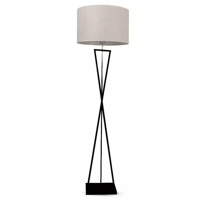 VT-7913 DESIGNER FLOORLAMP - ROUND IVORY LAMPSHADE, BLACK METAL CANOPY - E27