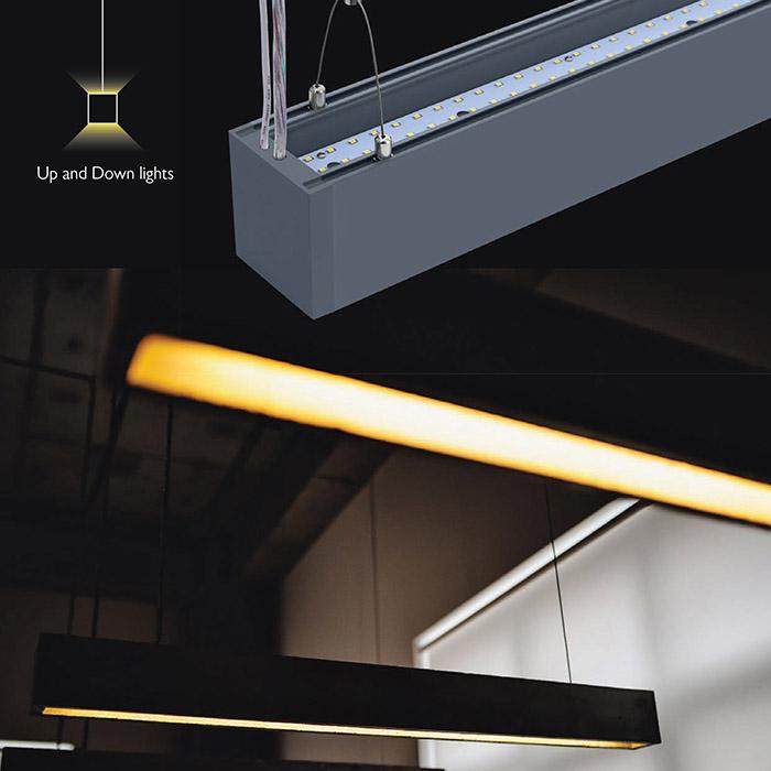 VT-7-44 40W LED LINEAR HANGING LIGHT SAMSUNG CHIP CCT(3 IN 1) BLACK BODY