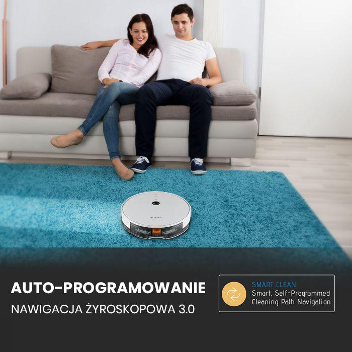 VT-5555 Odkurzacz automatyczny GYRO ROBOTIC VACUUM / Wtyczka EU / Kompatybilna z Amazon Alexa i Google Home / Bia?y
