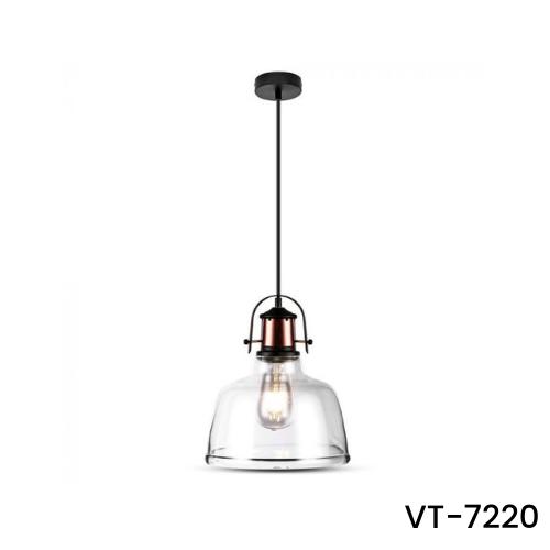 VT-7220 TRANSPARENT PENDANT LIGHT-BLACK CANOPY-E27